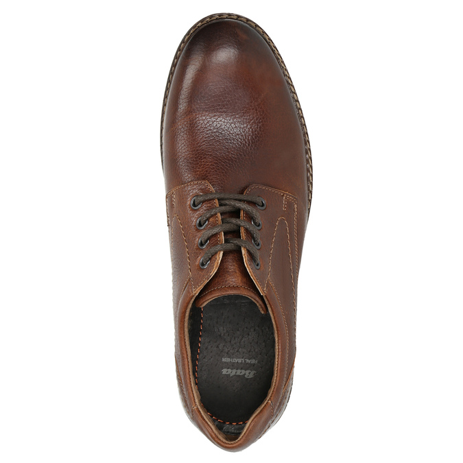 Brown stitched leather shoes bata, brown , 826-4915 - 26