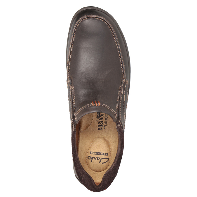 Men's Leather Moccasins with Stitching clarks, brown , 816-4022 - 15