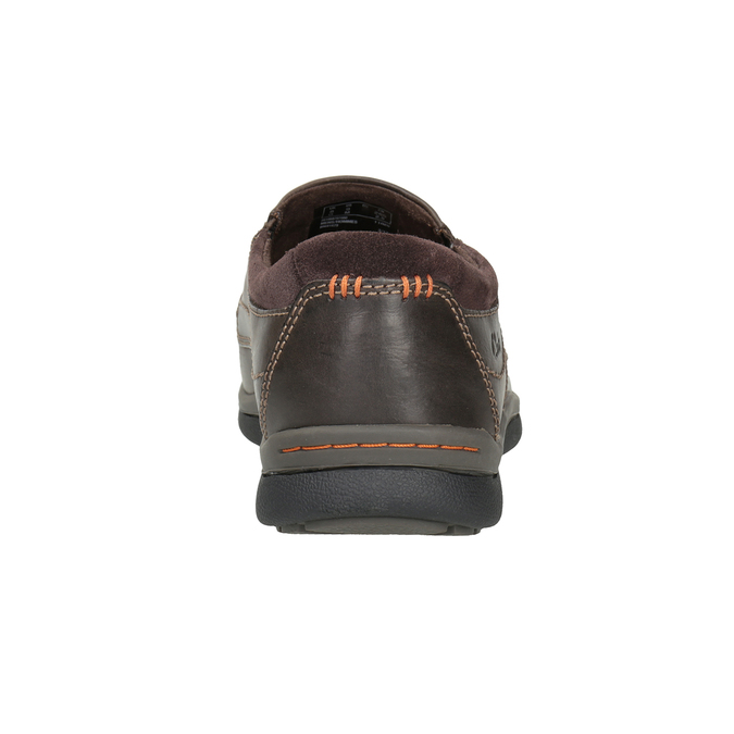 Men's Leather Moccasins with Stitching clarks, brown , 816-4022 - 16