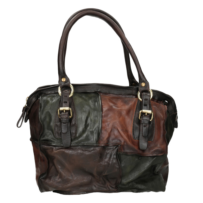 Leather Patchwork Handbag a-s-98, multicolor, 966-0062 - 26