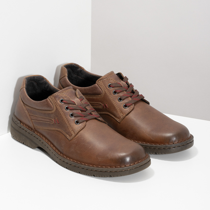 Brown leather shoes bata, brown , 826-4918 - 26