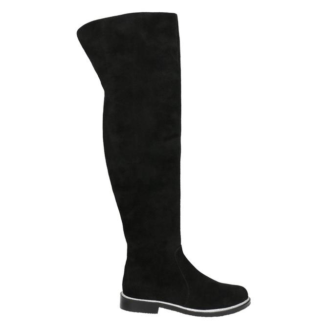 Brushed leather over-knee high boots bata, black , 593-6605 - 15
