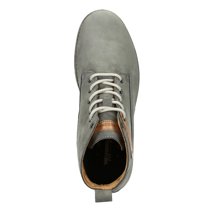 Men's leather ankle boots weinbrenner, gray , 846-2656 - 15