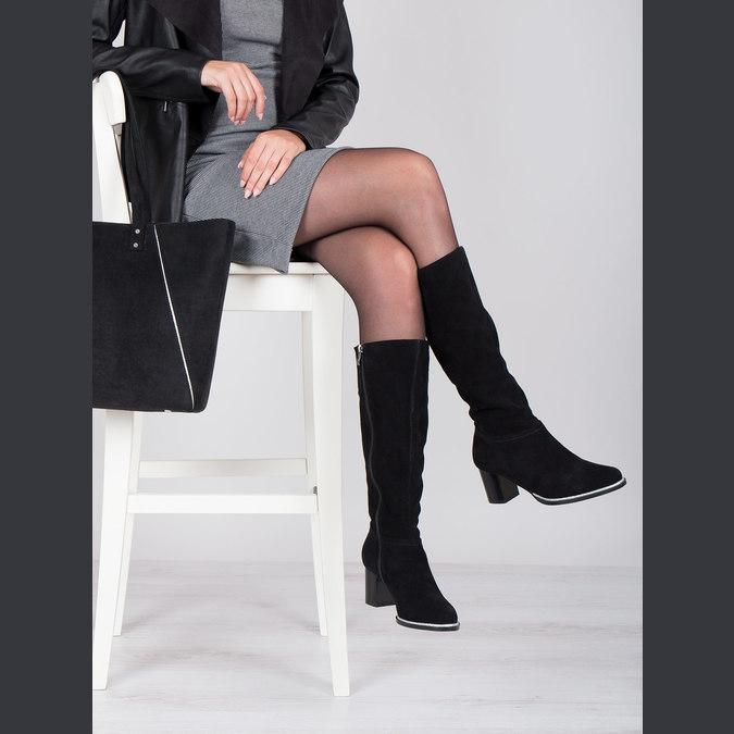 Black brushed leather high boots bata, black , 693-6603 - 14
