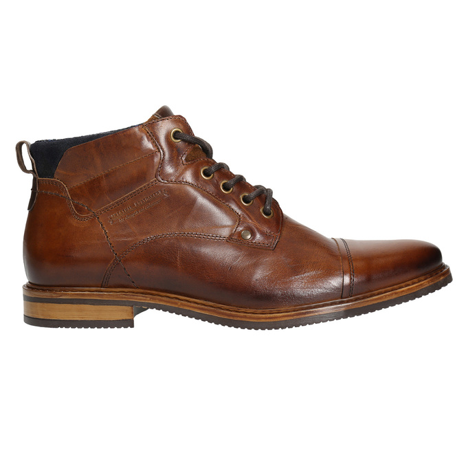 Brown leather ankle boots bata, brown , 896-3674 - 15