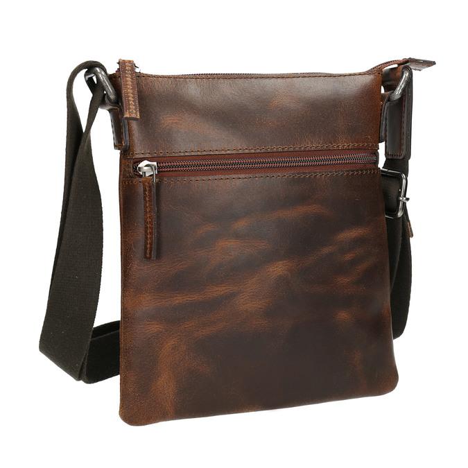 Men's leather crossbody bag, brown , 964-4140 - 13