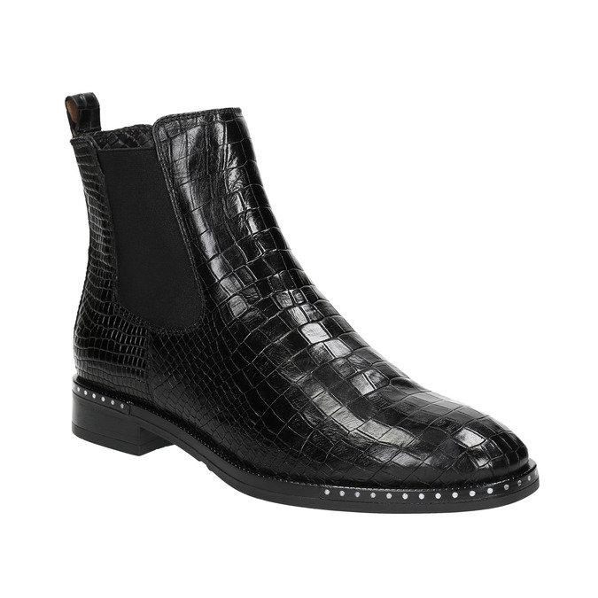 Ladies' textured  leather Chelsea boots bata, black , 596-6678 - 13