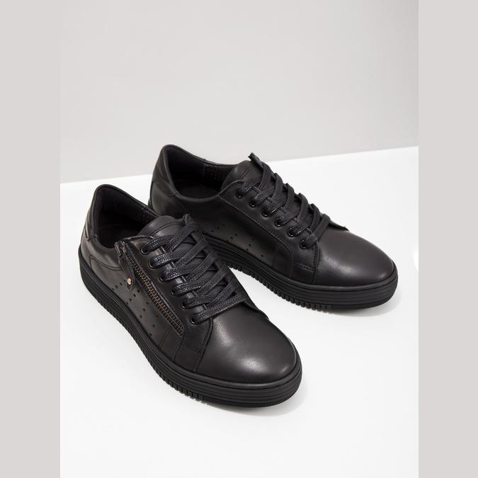 Ladies' leather sneakers bata, black , 526-6630 - 18