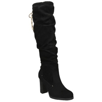 Ladies' black heeled high boots bata, black , 799-6614 - 13