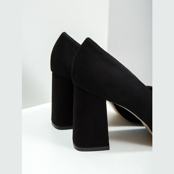 Leather Pumps with Chunky Heel bata, black , 723-6950 - 14