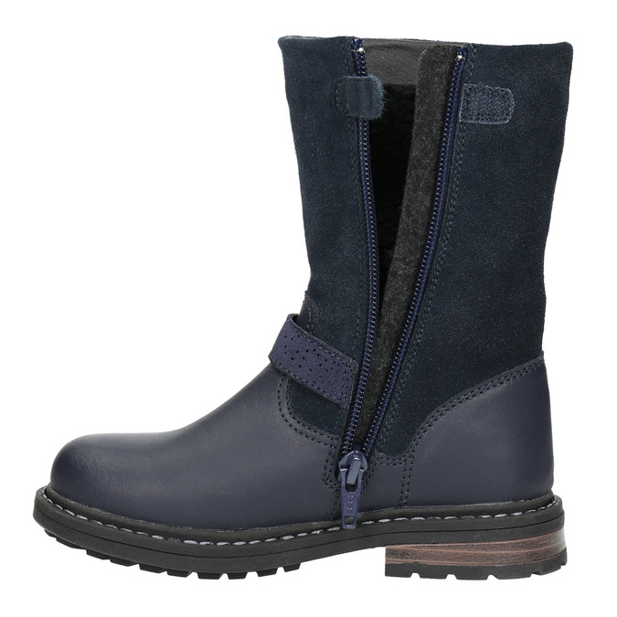 Girls' Leather High Boots mini-b, blue , 394-9194 - 26