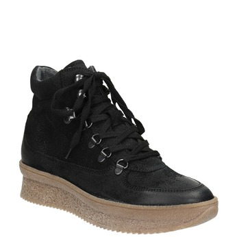 Leather lace-up ankle boots bata, black , 596-6673 - 13