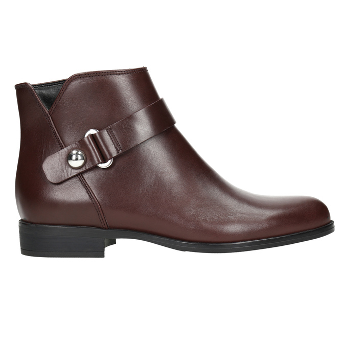 Burgundy Leather Ankle Boots bata, red , 596-5669 - 15
