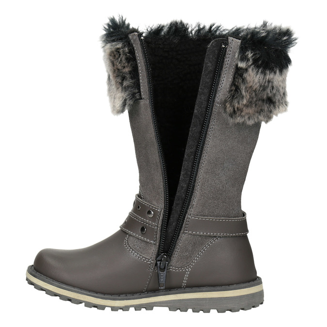 Girls' Leather High Boots with Fleece mini-b, gray , 396-2191 - 15