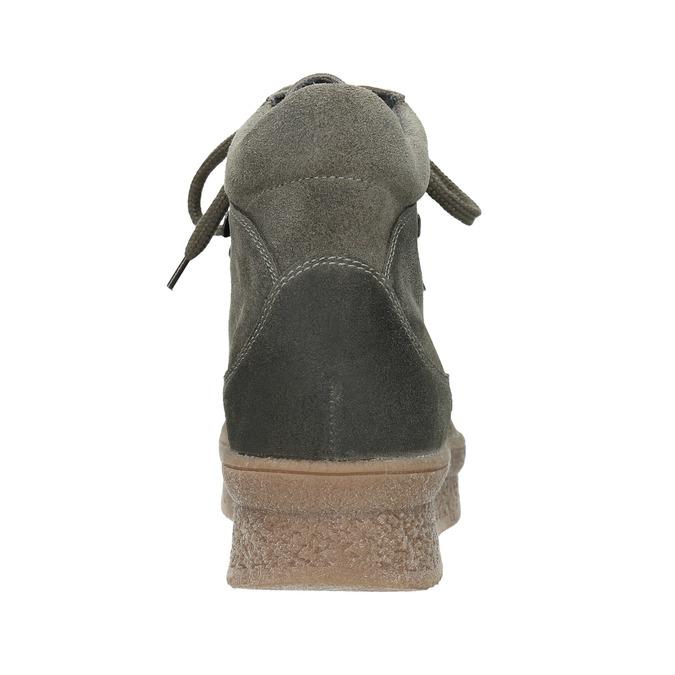 Ladies' leather flatform shoes bata, gray , 596-2673 - 16