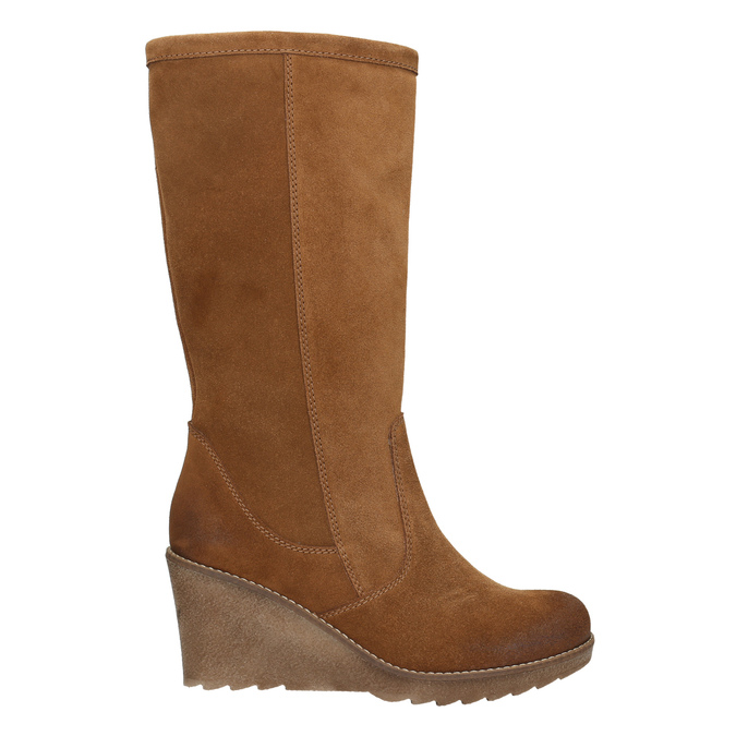 Brown Leather High Boots bata, brown , 793-4607 - 15