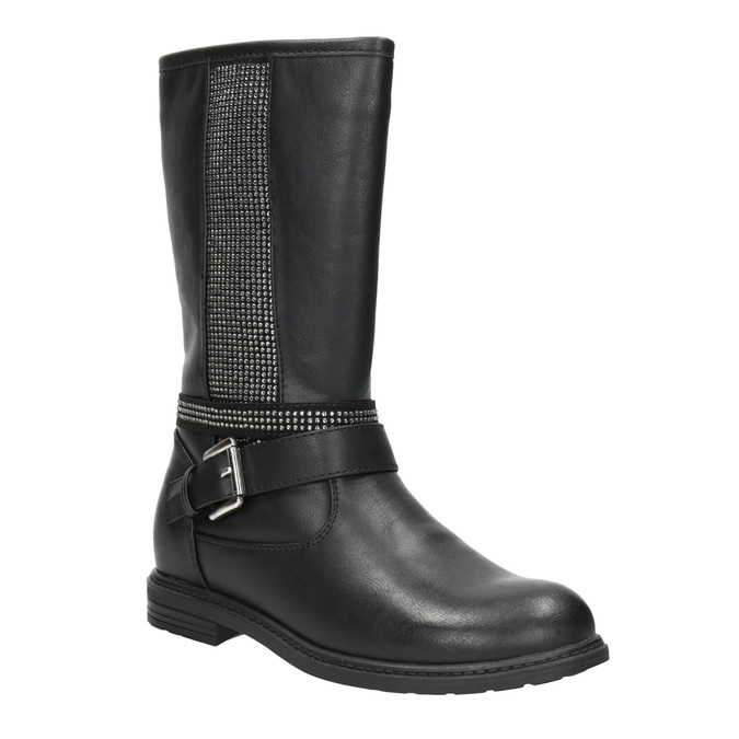 Girls' high boots with rhinestones mini-b, black , 391-6398 - 13