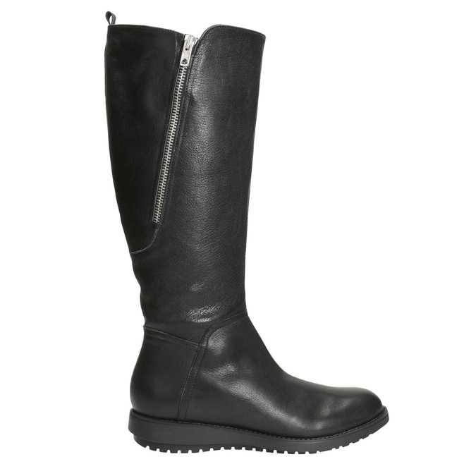 Ladies' leather high boots with zip flexible, black , 594-6651 - 26