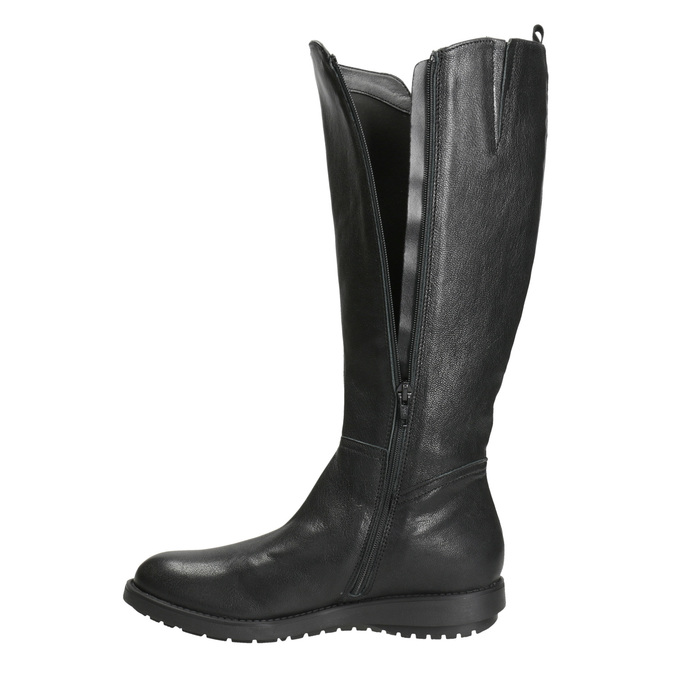 Ladies' leather high boots with zip flexible, black , 594-6651 - 15
