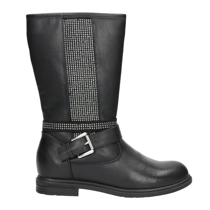 Girls' high boots with rhinestones mini-b, black , 391-6398 - 26