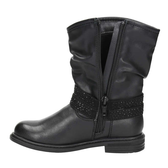Girls' high boots with rhinestones mini-b, black , 291-6397 - 15
