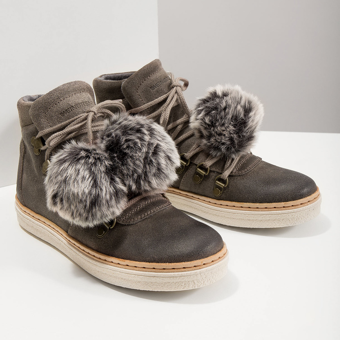 Ladies' Lace-Up Winter Boots weinbrenner, gray , 596-2674 - 14