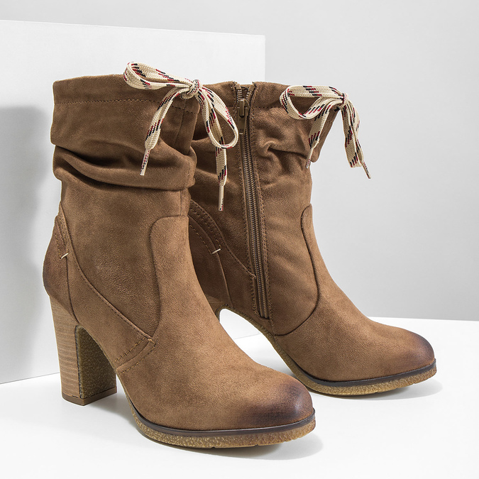 Brown heeled high boots bata, brown , 799-3613 - 18