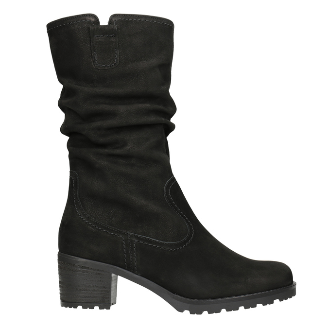 Leather High Boots with Stitching gabor, black , 796-6151 - 26
