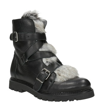 Leather Ankle Boots with Fur bata, black , 594-6656 - 13