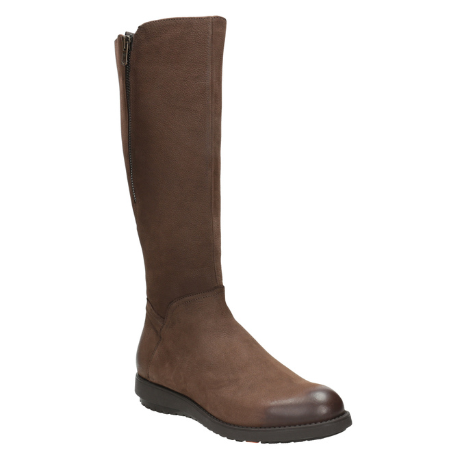 Brown leather high boots with zip flexible, brown , 594-4651 - 13