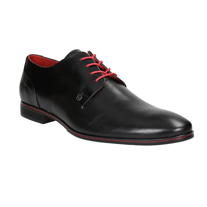 Leather shoes with red details conhpol, black , 824-6993 - 13