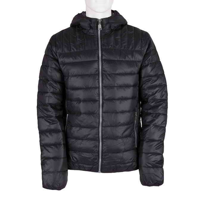 Men's quilted jacket with hood bata, black , 979-6143 - 13