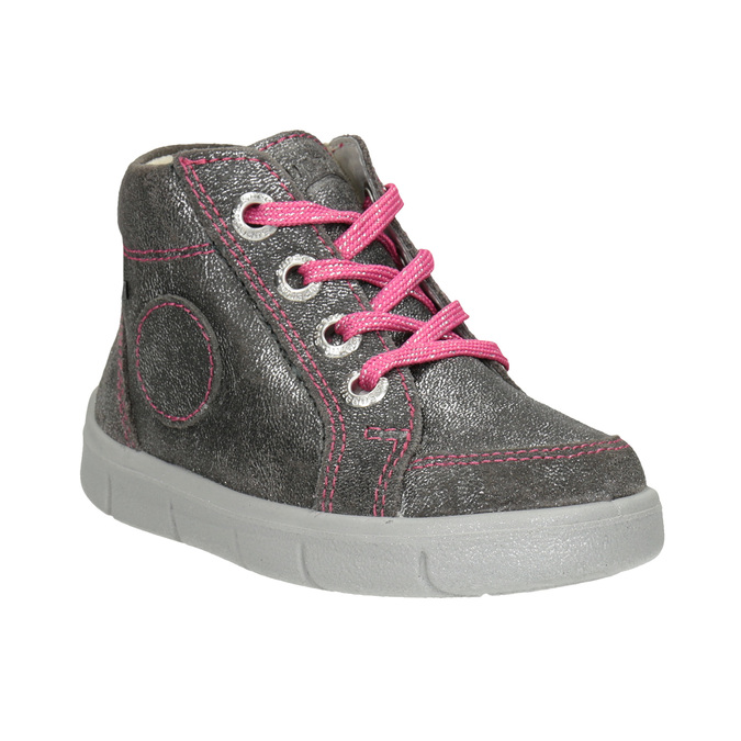 Children's silver sneakers with stitching, 126-0038 - 13
