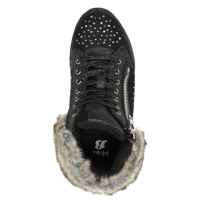 Children's winter boots with rhinestones mini-b, black , 329-6287 - 15