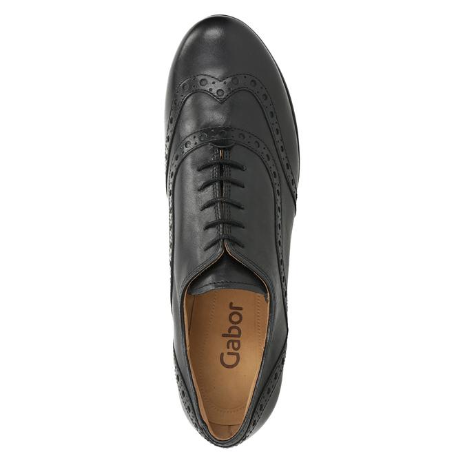 Leather heeled shoes gabor, black , 624-6016 - 15