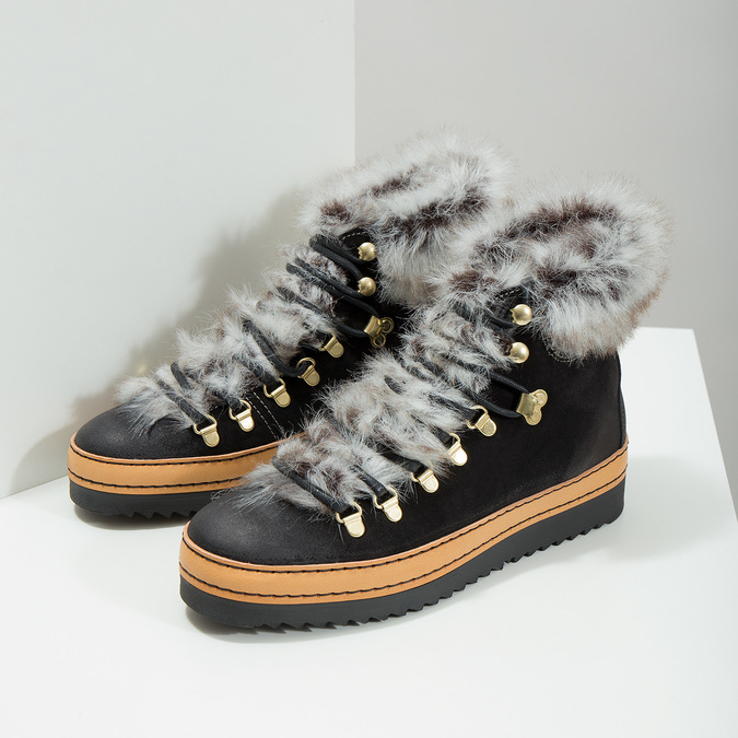 Ladies' Winter Boots with Fur bata, black , 596-6675 - 18