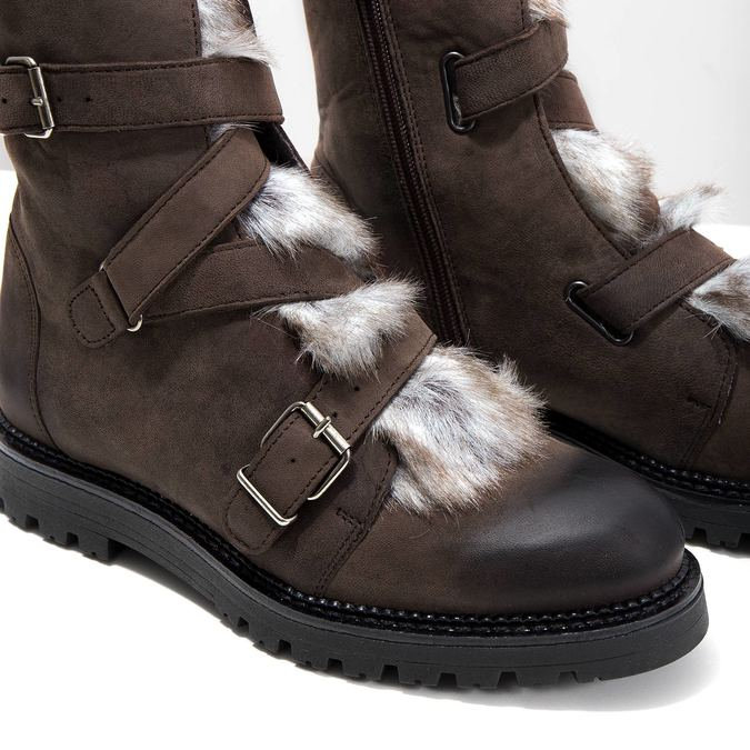Ladies' Leather High Boots with Fur bata, brown , 594-4656 - 14