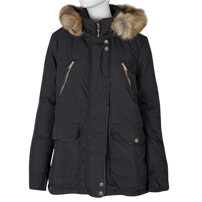 Ladies Parka with Fur bata, black , 979-6177 - 13