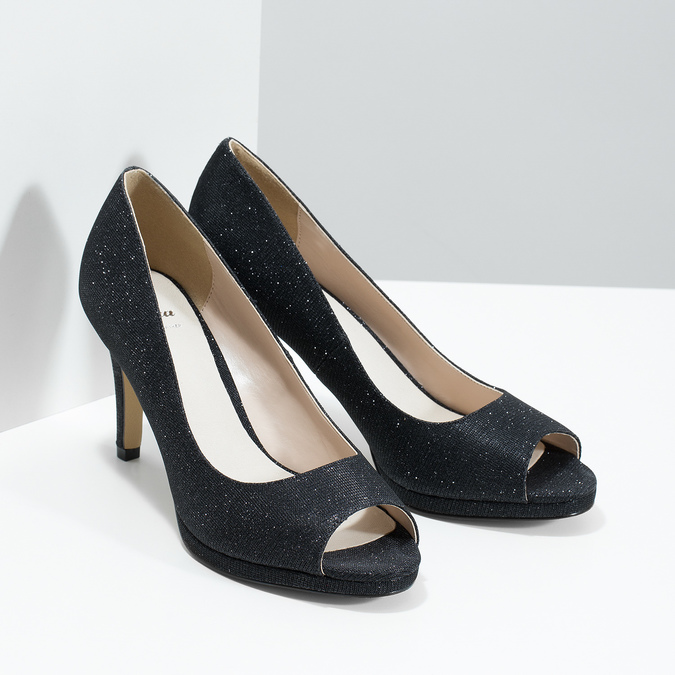 Peep-Toe Pumps bata, black , 729-6610 - 26