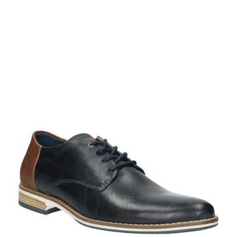 Men's leather Derby shoes bata, blue , 826-9924 - 13