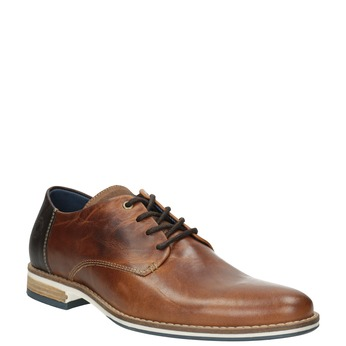 Brown leather dress shoes bata, brown , 826-3924 - 13