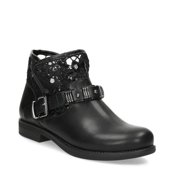 Black ankle boots with lace bata, black , 591-6628 - 13