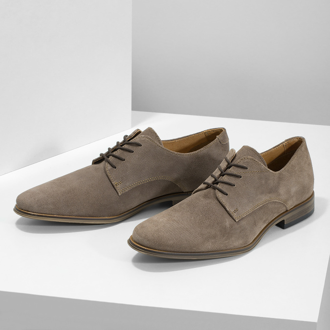 Men's Derby Shoes with Broguing bata, brown , 823-8616 - 16
