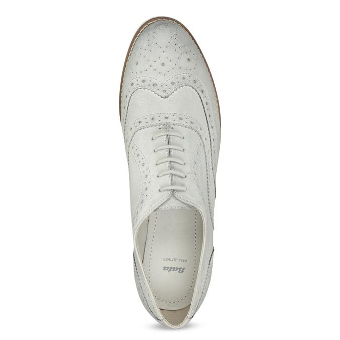 Ladies' leather Brogue shoes bata, white , 526-1649 - 17