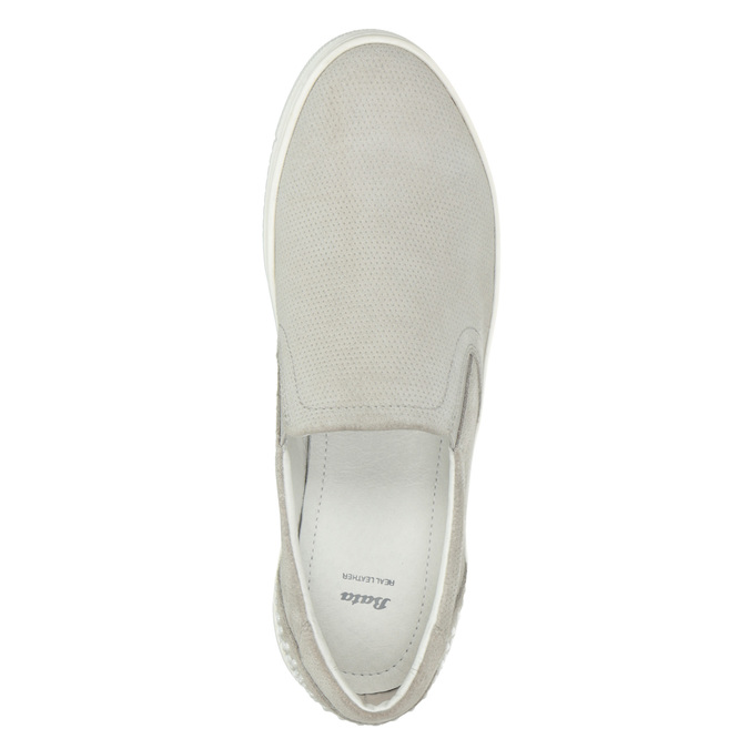 Leather Slip-on shoes with perforations. bata, gray , 533-2600 - 15