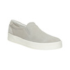 Leather Slip-on shoes with perforations. bata, gray , 533-2600 - 13