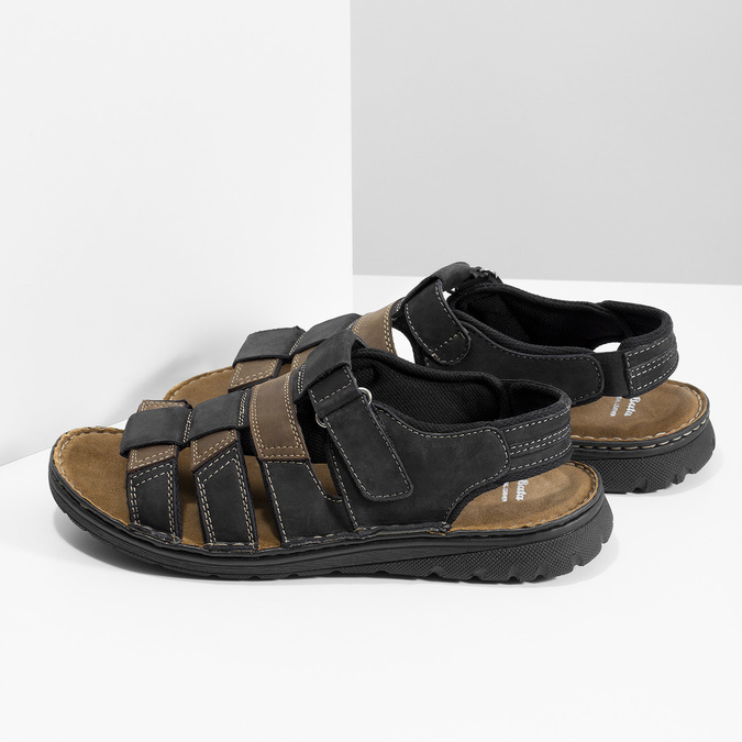 Men's leather sandals, brown , 866-4610 - 16